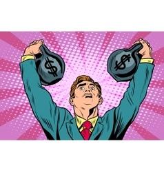 Businessman strongman lifts weights money vector