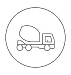 Concrete mixer truck line icon vector image