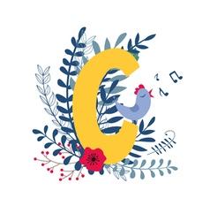 Floral alphabet letter c vector