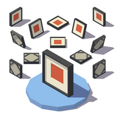 isometric square picture frame vector image