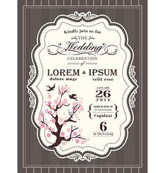 Vintage cherry blossom Wedding invitation card vector image