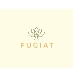 Abstract elegant tree flower line logo icon design vector
