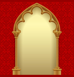 gothic gate with red classic decorative background vector image vector image