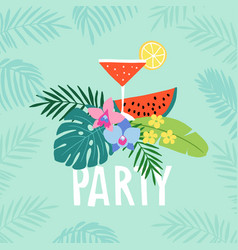 hand drawn summer party greeting card invitation vector image