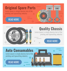 three banner for auto spare parts vector image vector image