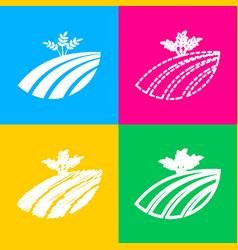 wheat field sign four styles of icon on four vector image vector image