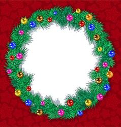 wreath tree branches Christmas balls vector image