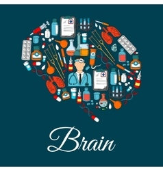 Brain symbol designed of medical tools and items vector image vector image