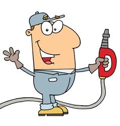 Caucasian Cartoon Gas Attendant Man vector image