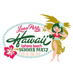 Luau party summer beach vector image