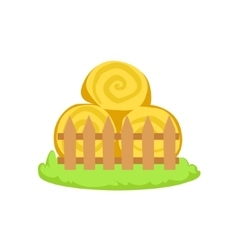Pile Of Stacked Hay Rolls Cartoon Farm Related vector image