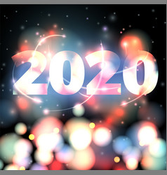 2020 new year on bright bokeh vector image