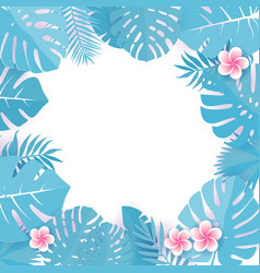 abstract background with blue cyan tropical leaves vector image