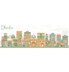 Abstract Dhaka Skyline with Color Buildings vector image