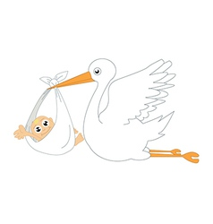 Baby with stork vector