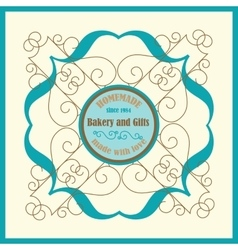 Bakery Logo with Florish Frame and Vingae Border vector image