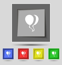 Balloon Icon sign on original five colored buttons vector image