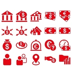 Bank service and trade business icon set vector