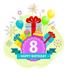 birthday card eight year vector image
