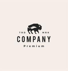 bison buffalo leaf natural hipster vintage logo vector image