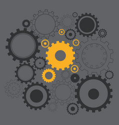 black and gold gears on the gray background vector image