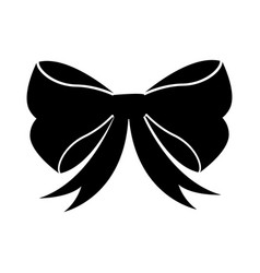 black icon christmas bow cartoon vector image
