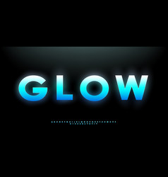 blue glowing bold font futuristic vibrant vector image