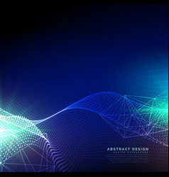 Blue technology background with wavy particles vector