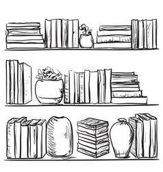 Bookshelves sketch hand drawn interior elements vector
