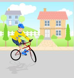 Boy playing bicycle around neighborhood vector