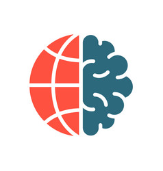 brain with earth colored icon world brain day vector image