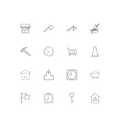 Buildings and constructions linear thin icons set vector