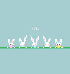 bunny easter set white rabbit wear surgical mask vector image