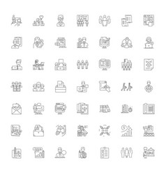Business administration linear icons signs vector