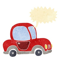 Cartoon car with speech bubble vector