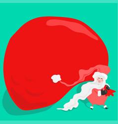 cartoon fun santa claus carrying a big red bag vector image