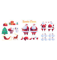 Cartoon santa claus animation christmas set vector