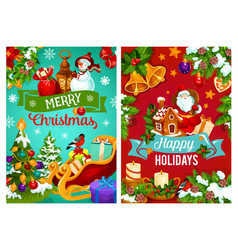 christmas gift pine tree and santa sleigh vector image