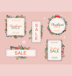 christmas sale banner set discount season winter vector image