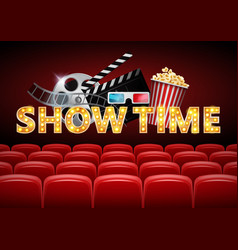 cinema hall with red seats showtime poster vector image