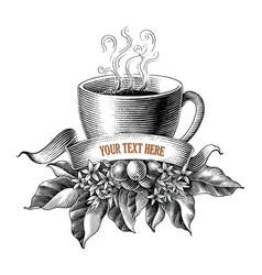 coffee shop lodo design hand draw vintage vector image