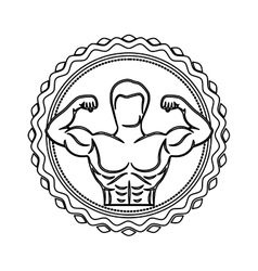 contour stamp border with half body muscle man vector image