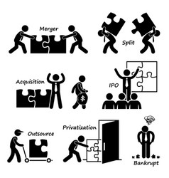 Corporate company business concept stick figure vector