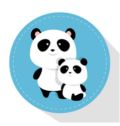 cute bear panda father and son characters vector image