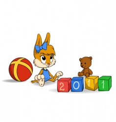 cute bunny cub with bricks vector image