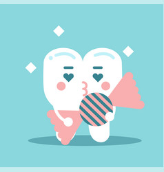 Cute enamored cartoon tooth character holding vector