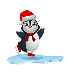 cute penguin cartoon ice skates on skating vector image