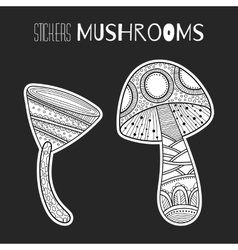 Decorative mushrooms Black white stickers vector image