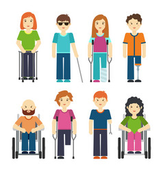 Disabled people isolated on white background vector