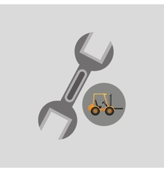 excavator machine wrench tool graphic vector image